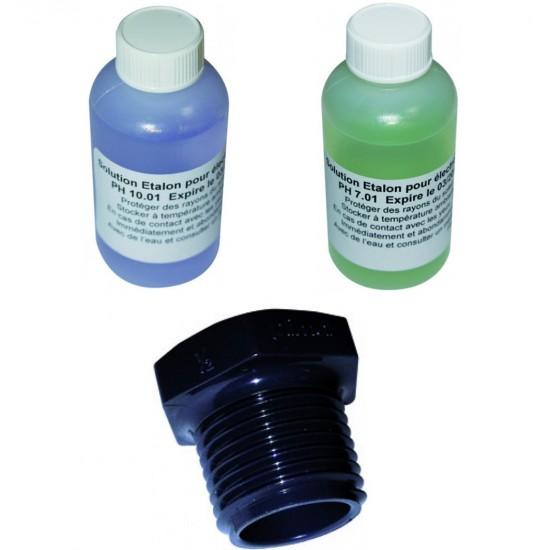 """Kit d'étalonnage pour sonde pH (Tampon 7, 10 et bouchon fileté mâle 1/2"""" pH)"""